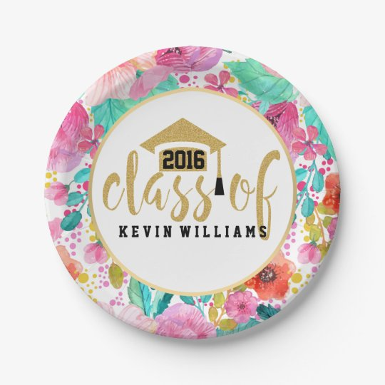 Pink Flowers & Gold Glitter Text Class of 2016 Paper Plate