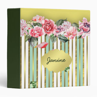 Pink Flowers Green and Gold Stripes Green Diamonds 3 Ring Binder