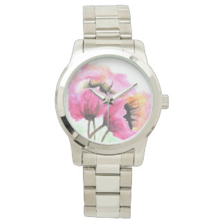 pink flowers hand-painted watch