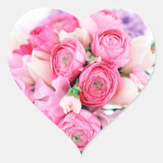 Pink Flowers Heart Shape Stickers