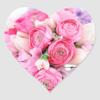 Pink Flowers Heart Stickers