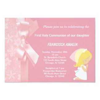 "Pink Flowers Holly Communion 5"" X 7"" Invitation Card"