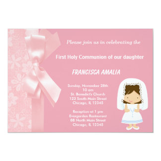 "Pink Flowers Holy Communion 5"" X 7"" Invitation Card"