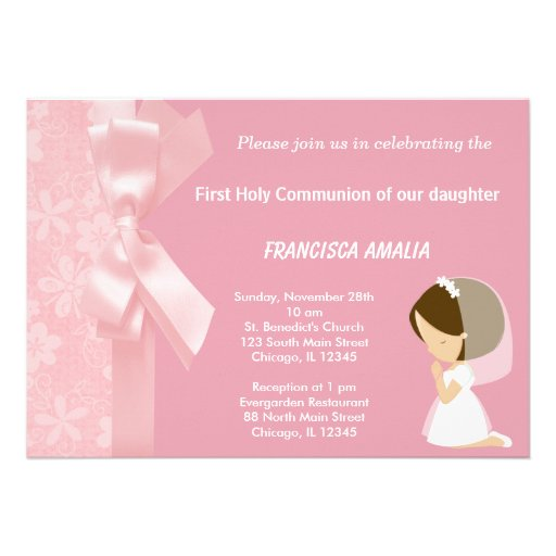 Pink Flowers Holy Communion Announcements