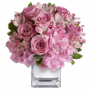 Pink Flowers in a Vase Standing Photo Sculpture