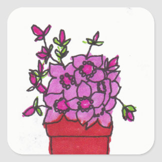 Pink Flowers in Red Pot Square Sticker