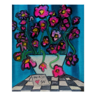 Pink flowers in white bowl poster