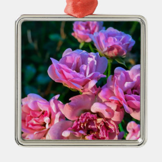 Pink_Flowers.JPG Silver-Colored Square Ornament