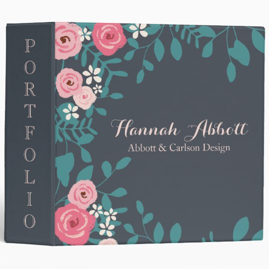 Pink Flowers & Leaves Binder