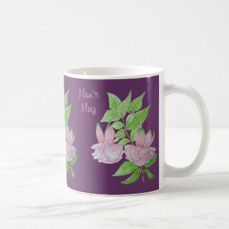 Pink flowers leaves original watercolor art design coffee mug