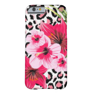 Pink Flowers & Leopard Pattern Print Design Barely There iPhone 6 Case
