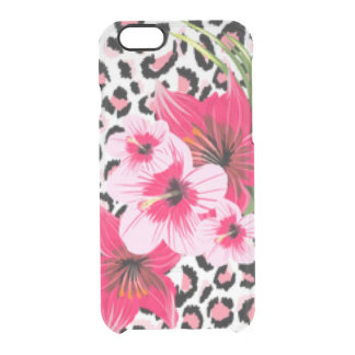 Pink Flowers & Leopard Pattern Print Design Clear iPhone 6/6S Case