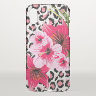 Pink Flowers & Leopard Pattern Print Design iPhone X Case