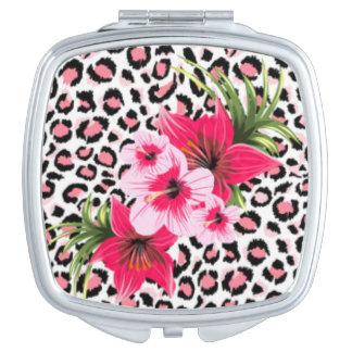Pink Flowers & Leopard Pattern Print Design Makeup Mirror