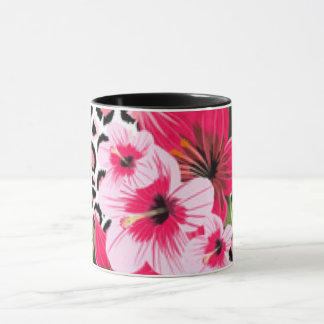 Pink Flowers & Leopard Pattern Print Design Mug