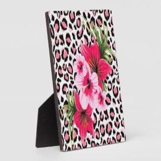 Pink Flowers & Leopard Pattern Print Design Plaque