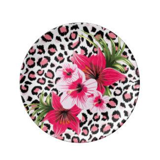 Pink Flowers & Leopard Pattern Print Design Plate