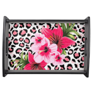 Pink Flowers & Leopard Pattern Print Design Serving Tray
