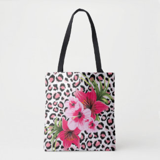 Pink Flowers & Leopard Pattern Print Design Tote Bag
