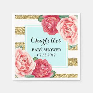 Pink Flowers Light Blue Gold Stripes Baby Shower Napkin