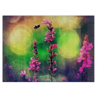 Pink Flowers N Bee Lights Cutting Board