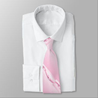 Pink Flowers n Waves Tie