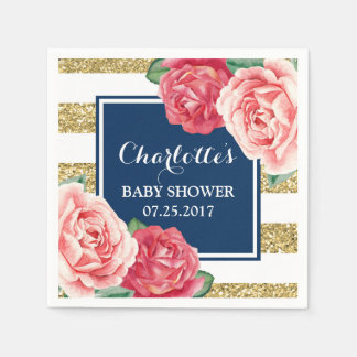 Pink Flowers Navy Blue Gold Stripes Baby Shower Paper Napkins