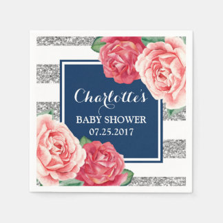 Pink Flowers Navy Blue Silver Stripes Baby Shower Disposable Napkins