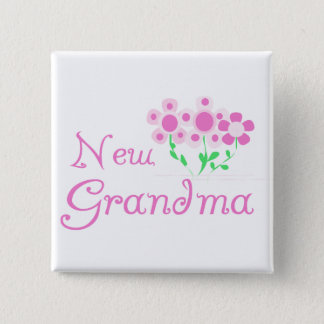 Pink Flowers New Grandma Tshirts and Gifts 2 Inch Square Button