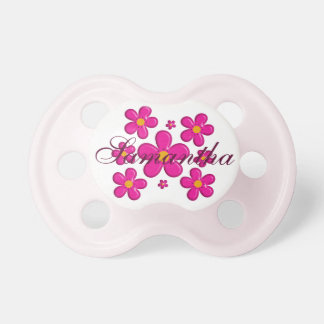 Pink flowers nursery element. name. pacifier