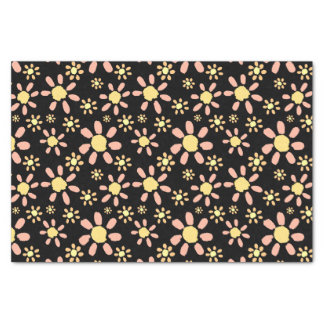 Pink Flowers on Black Tissue Paper
