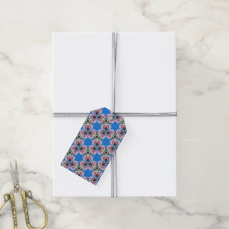 Pink flowers on blue background gift tags