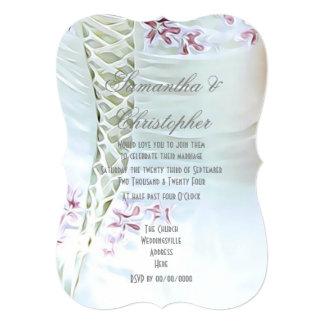 Pink flowers on brides dress wedding card