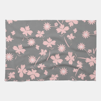 Pink Flowers on Gray Kitchen Towel