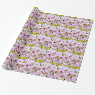 Pink flowers on Japanese cherry tree in city garde Wrapping Paper