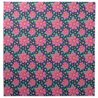 Pink Flowers on Navy Napkin