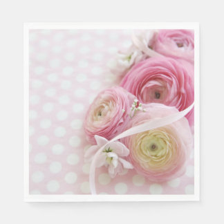 Pink flowers on polka dots paper napkin