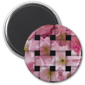pink flowers on the tree 2 inch round magnet