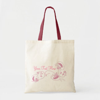 Pink Flowers On White Budget Tote Bag