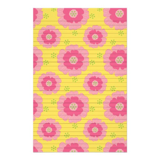 Pink Flowers on Yellow Personalized Stationery