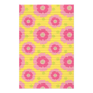 Pink Flowers on Yellow Stationery Paper