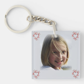Pink Flowers Open Heart Photo Double-Sided Square Acrylic Keychain