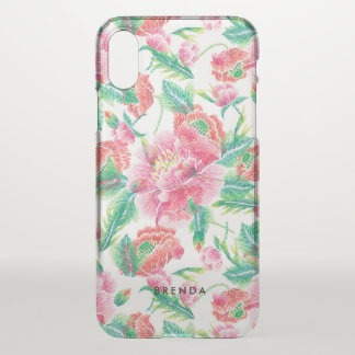 Pink Flowers pattern Monogram iPhone X Case