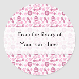 Pink Flowers Personalized Bookplates Sticker