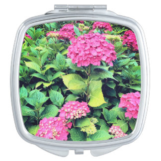 Pink  Flowers Photo Square Compact Mirror