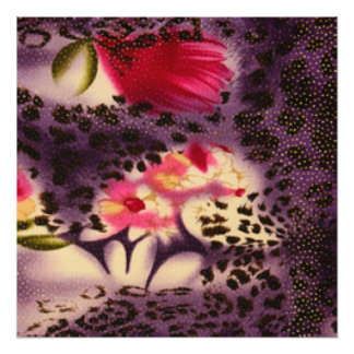 Pink Flowers Purple Leopard Print Design