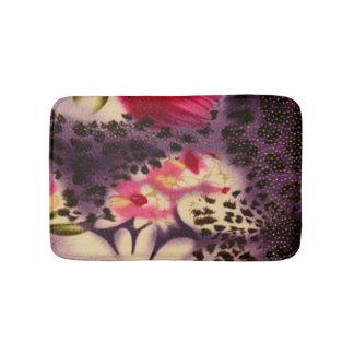 Pink Flowers Purple Leopard Print Design Bath Mat