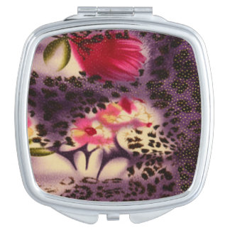 Pink Flowers Purple Leopard Print Design Mirror For Makeup