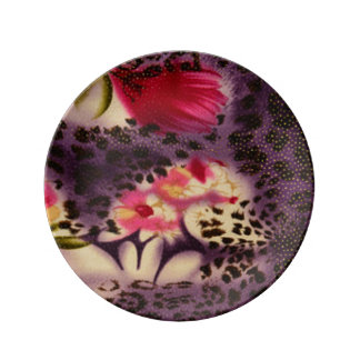 Pink Flowers Purple Leopard Print Design Plate