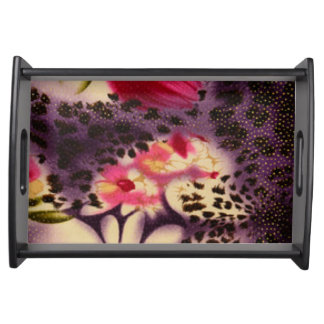 Pink Flowers Purple Leopard Print Design Serving Tray